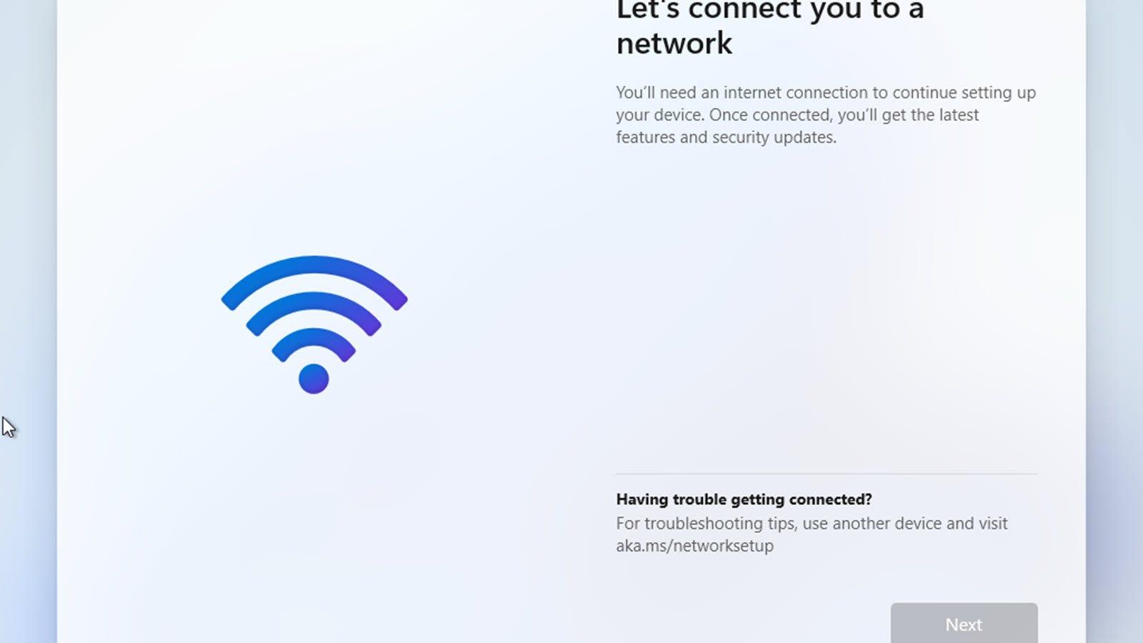 Windows 11 требует подключения к Интернету.