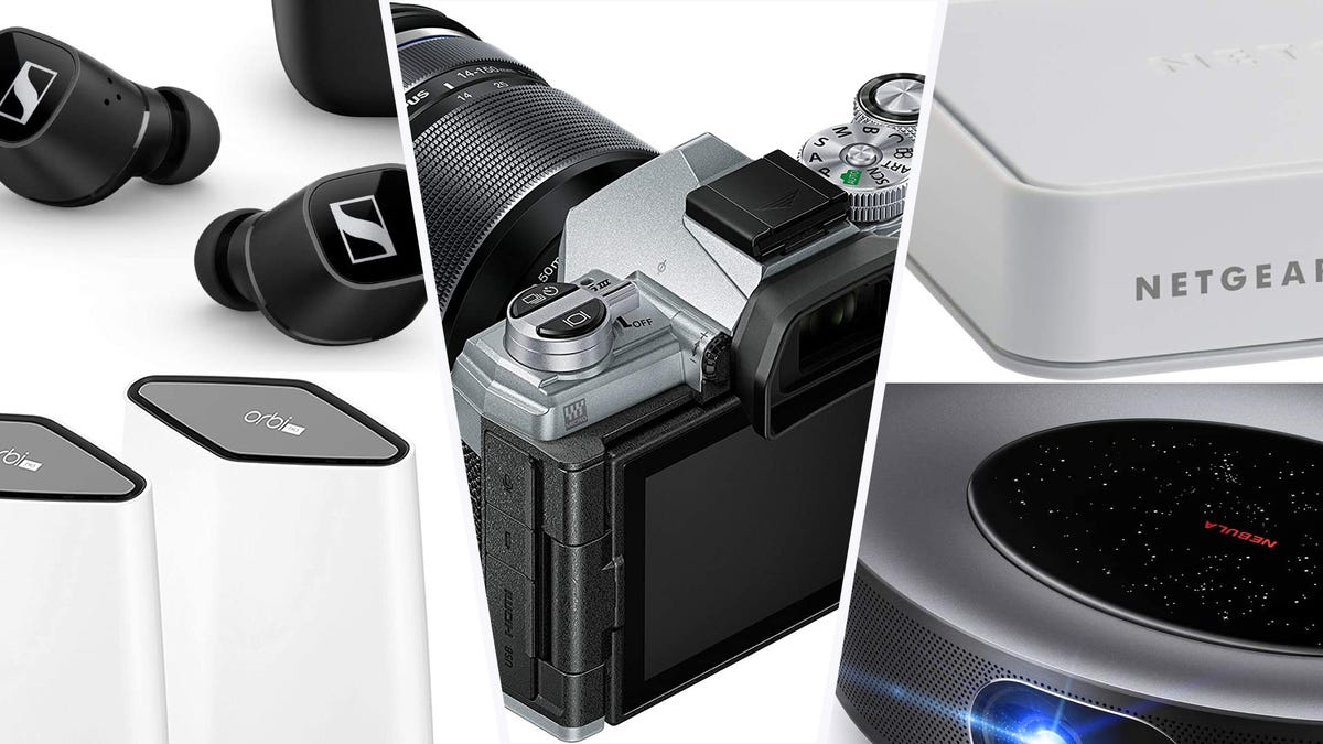 A set of true wireless earbuds, orbi routers, netgear ethernet switch, projector, and Olympus camera in a collage