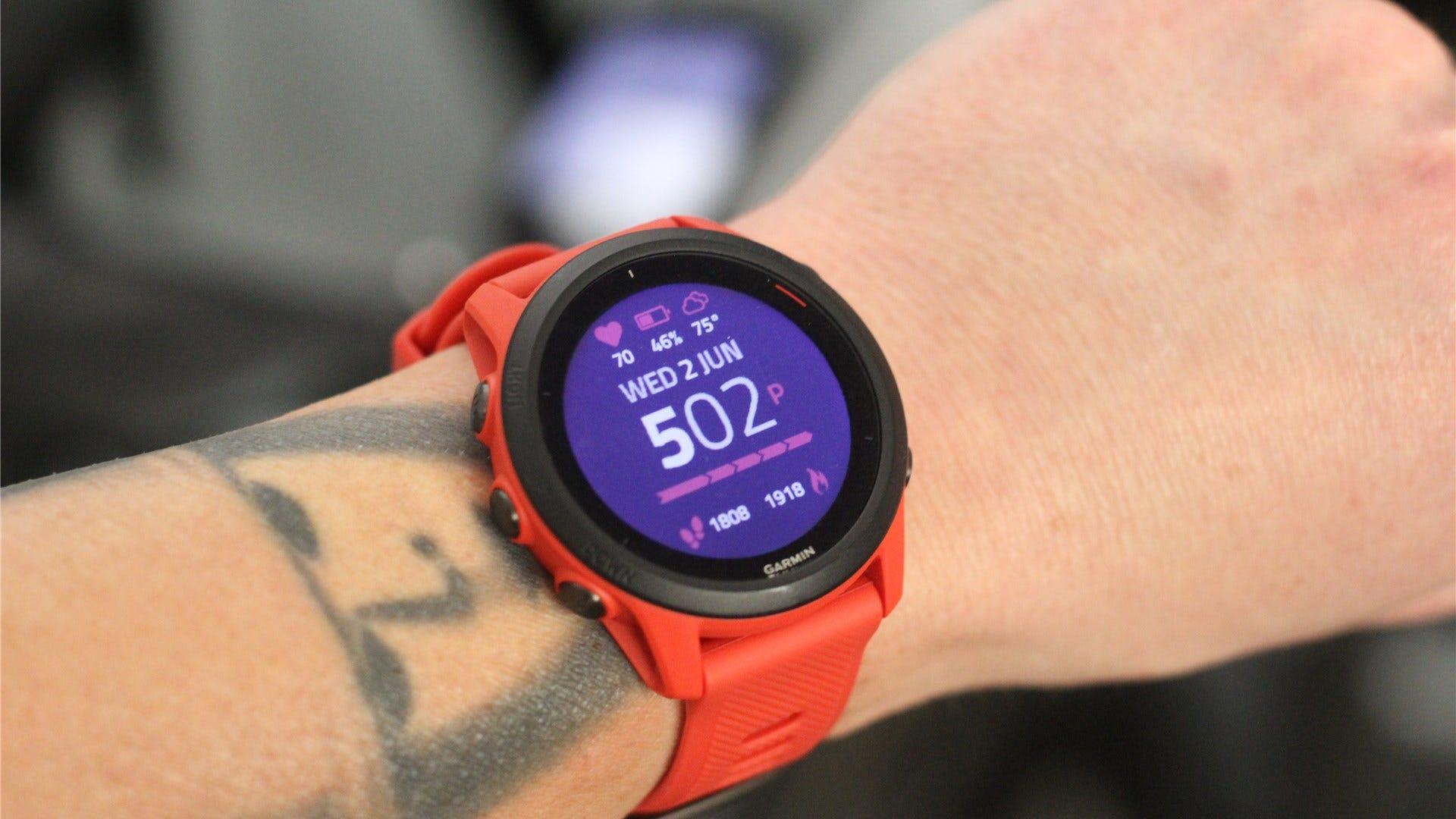 The Garmin Forerunner 745 multisport watch in lava red