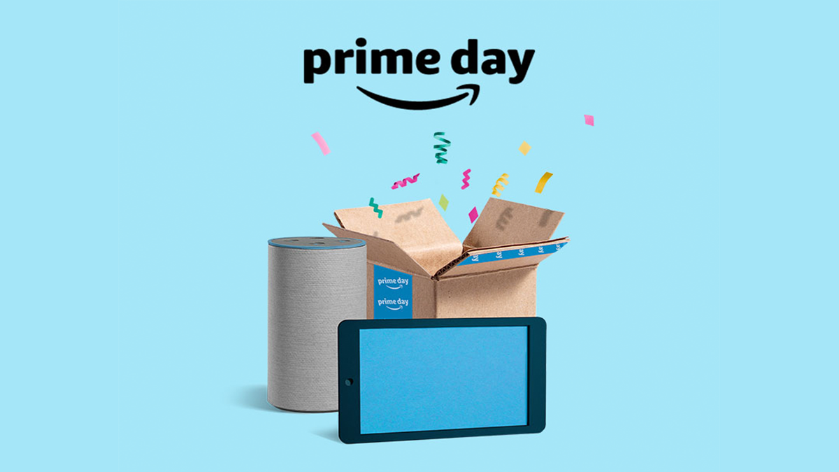 """""""Prime Day"""" text on a blue background with sporadic items like a box, speaker, and iPad"""