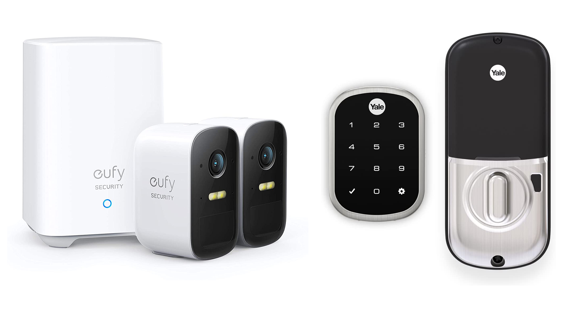Eufy's smart security cameras and Yale Assure smart lock.