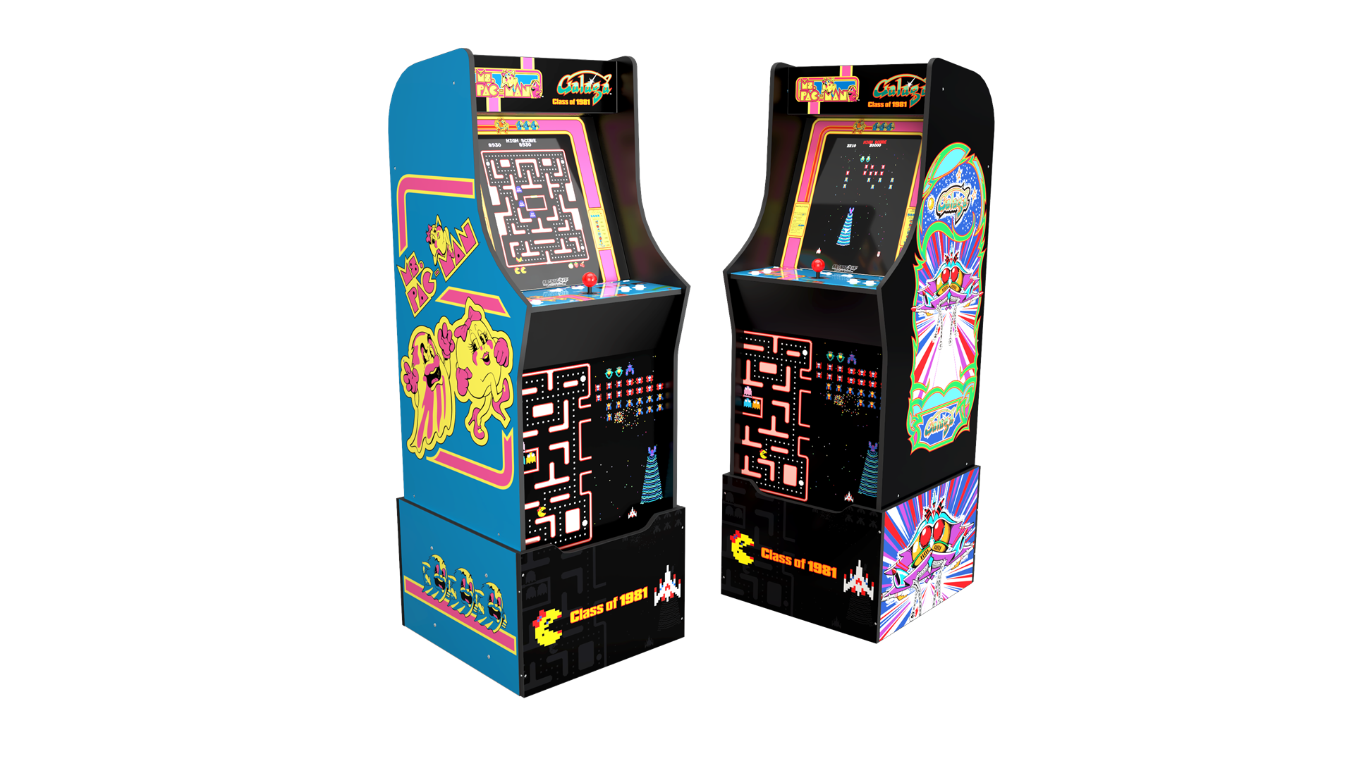 A Machine with 'Ms. Pac-Man' art on the left and 'Galaga' art on the right