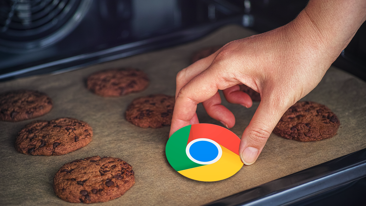 A hand pulling the Google Chrome logo off a cookie sheet