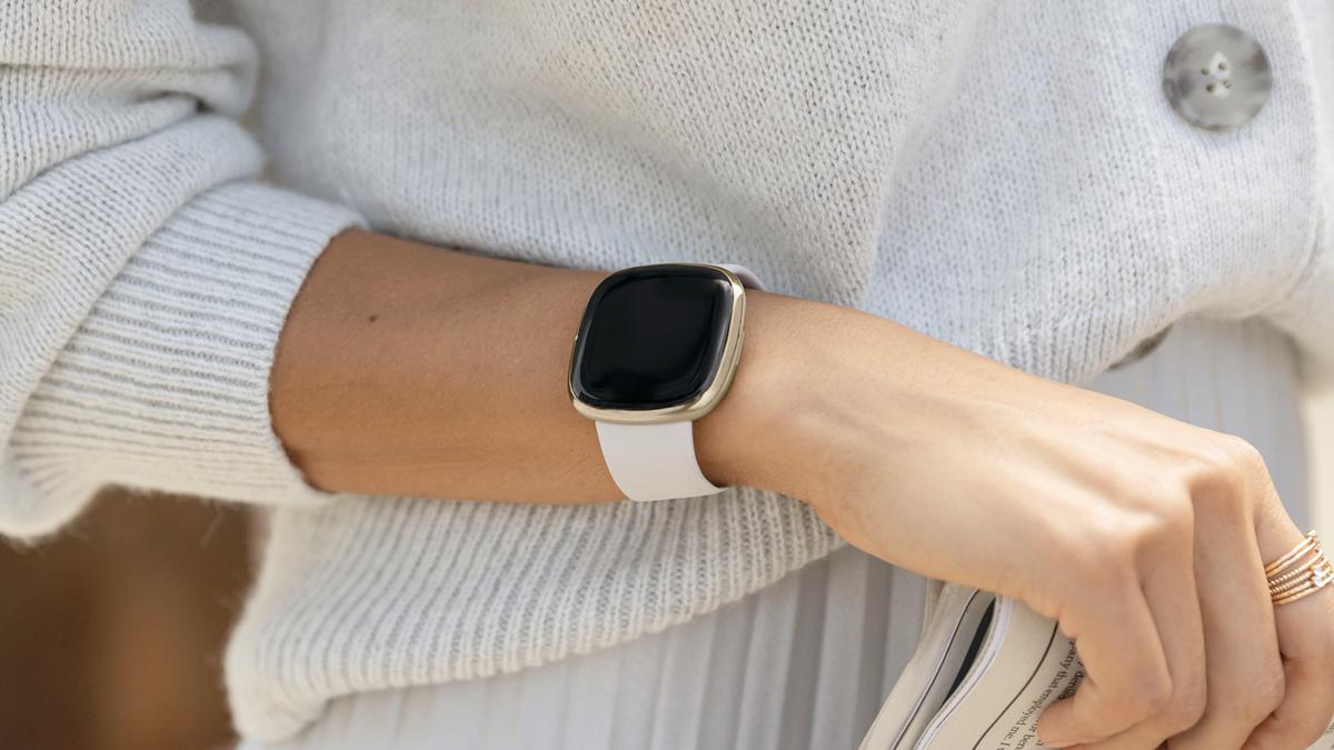 The Fitbit Sense tracker.