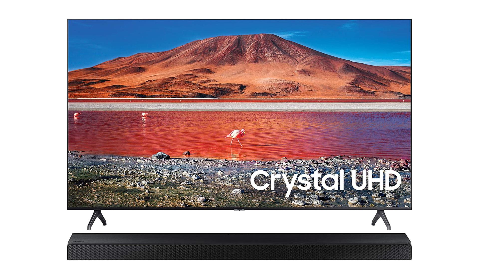 A Samsung TV and soundbar.