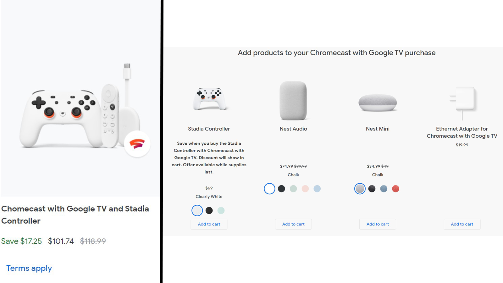 Chromecast with Google TV and Stadia controller shown with Nest Audio and Mini and an Ethernet Adaptor.
