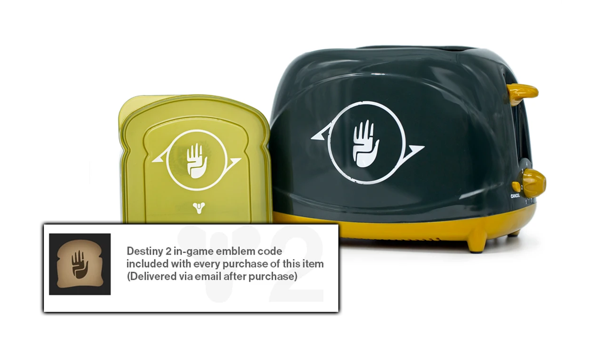 The Destiny toaster, sandwich case, and in-game emblem.