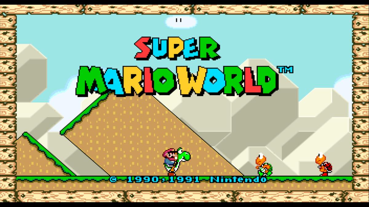 Schermata del titolo del gioco Super Mario World Widescreen