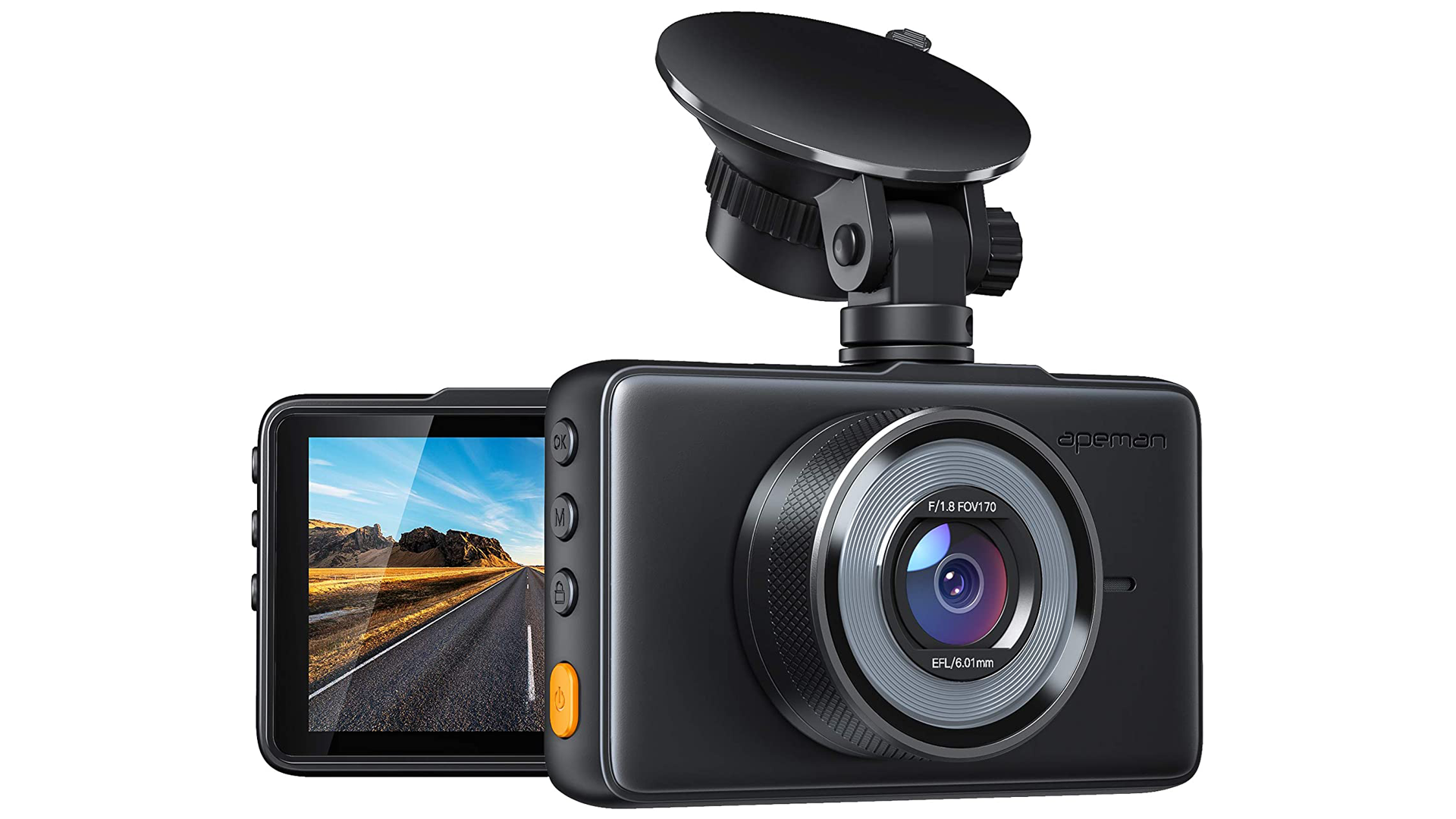 Front and partial-rear view of the APEMAN 1080p FHD dash cam