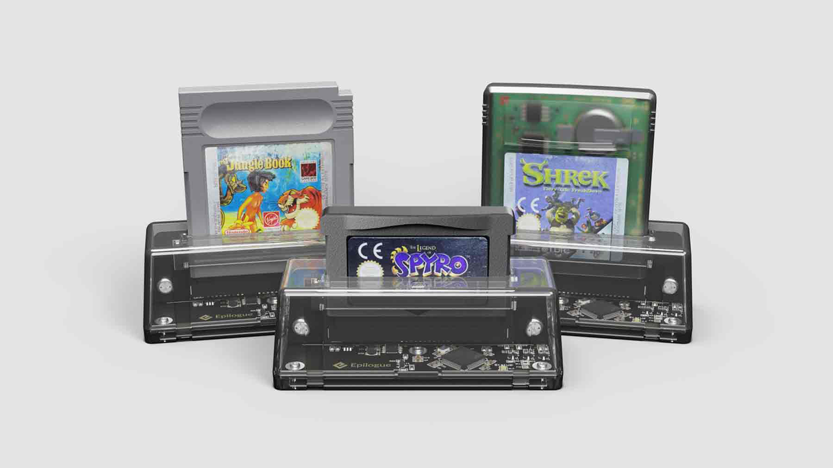 Three GB Operators with Game Boy cartridge games inserted