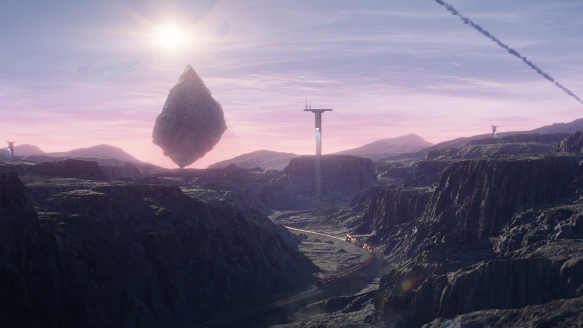 A chuck of planet crashing into a landscape.