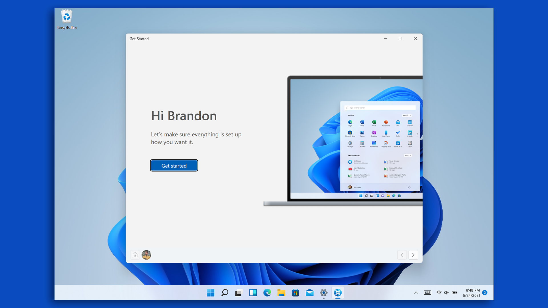 The first insider preview of Windows 11 Get Started screen.