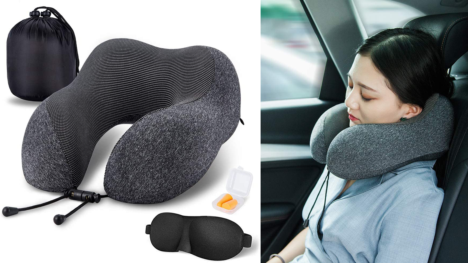 Heads Up: This Contoured Travel Pillow Supports Your Neck During Road Trip Naps
