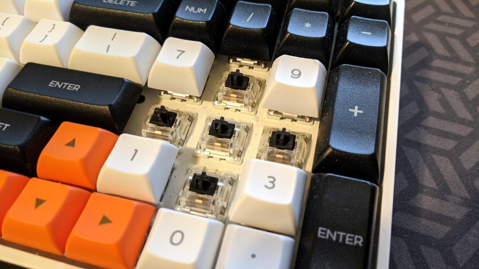 Close-up of the Epomaker GK96S' Gateron Black switches