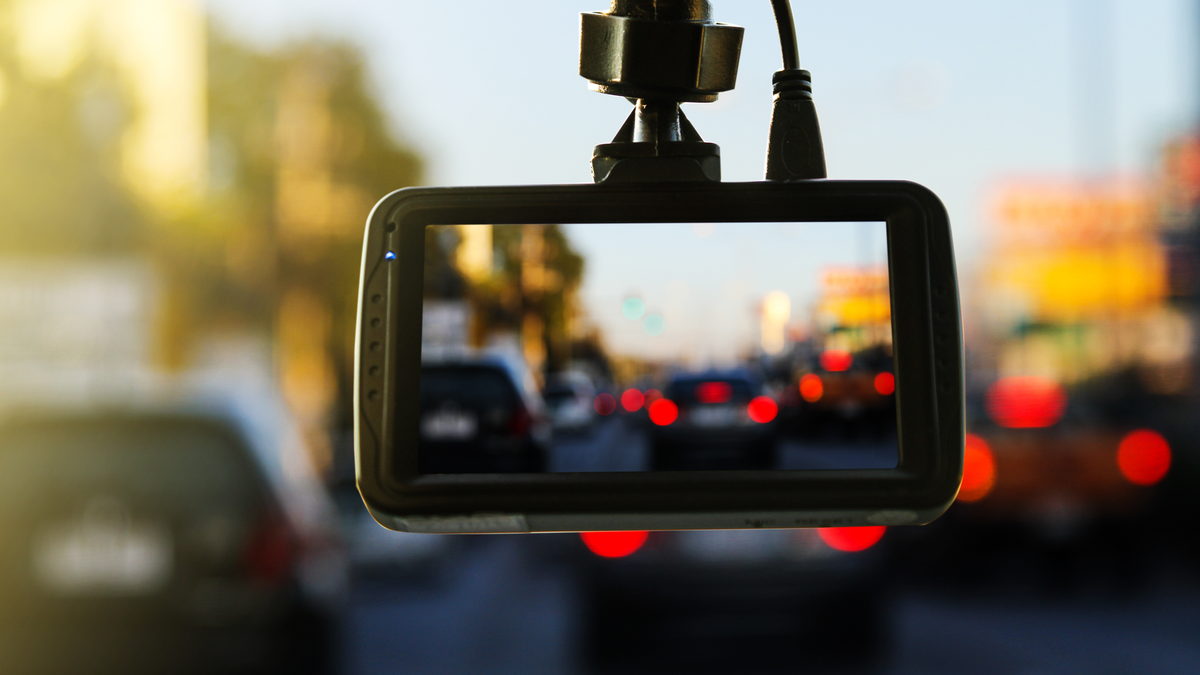 Close up of dash cam for safety on the road accident