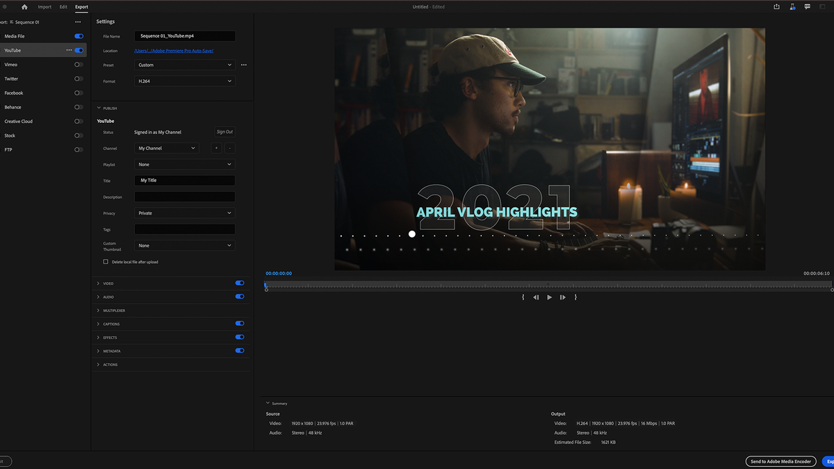 The Premiere Pro export page.