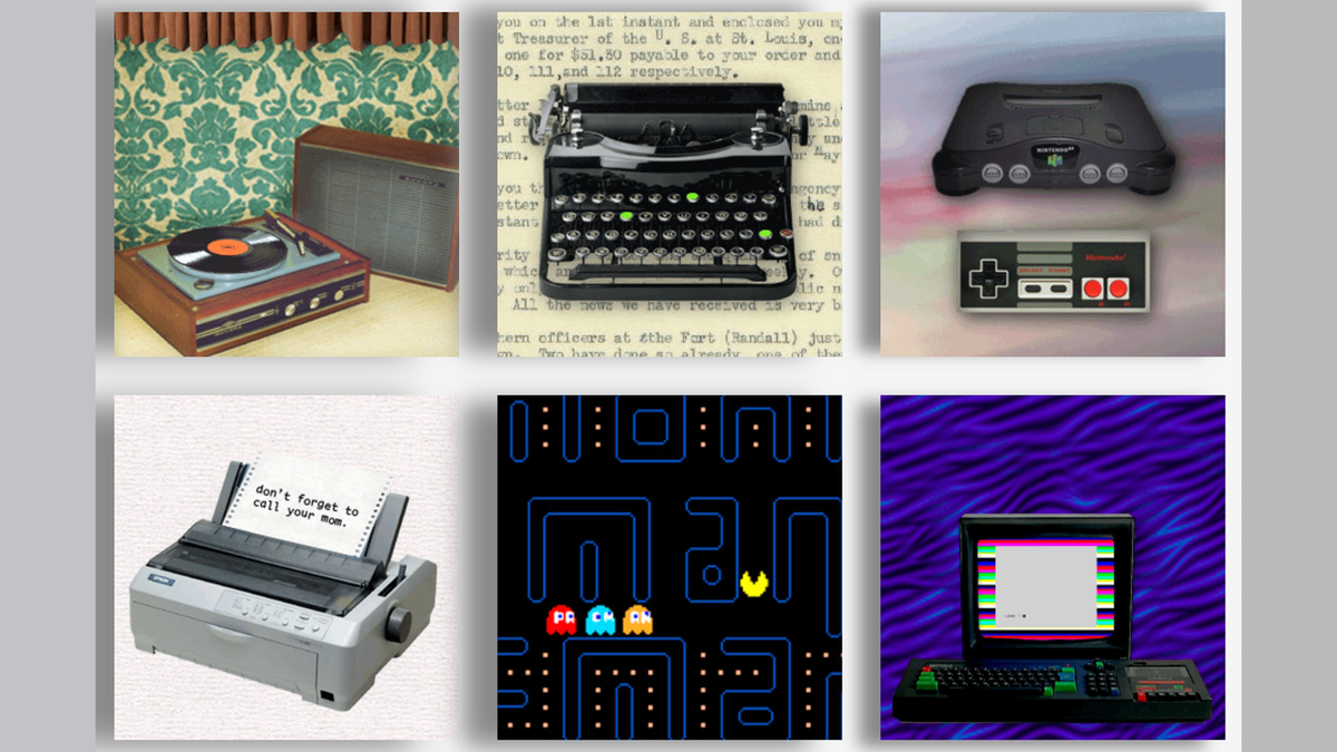 Pictures of turntable, typewriter, Nintendo consoles, Pac-Man and other vintage technologies