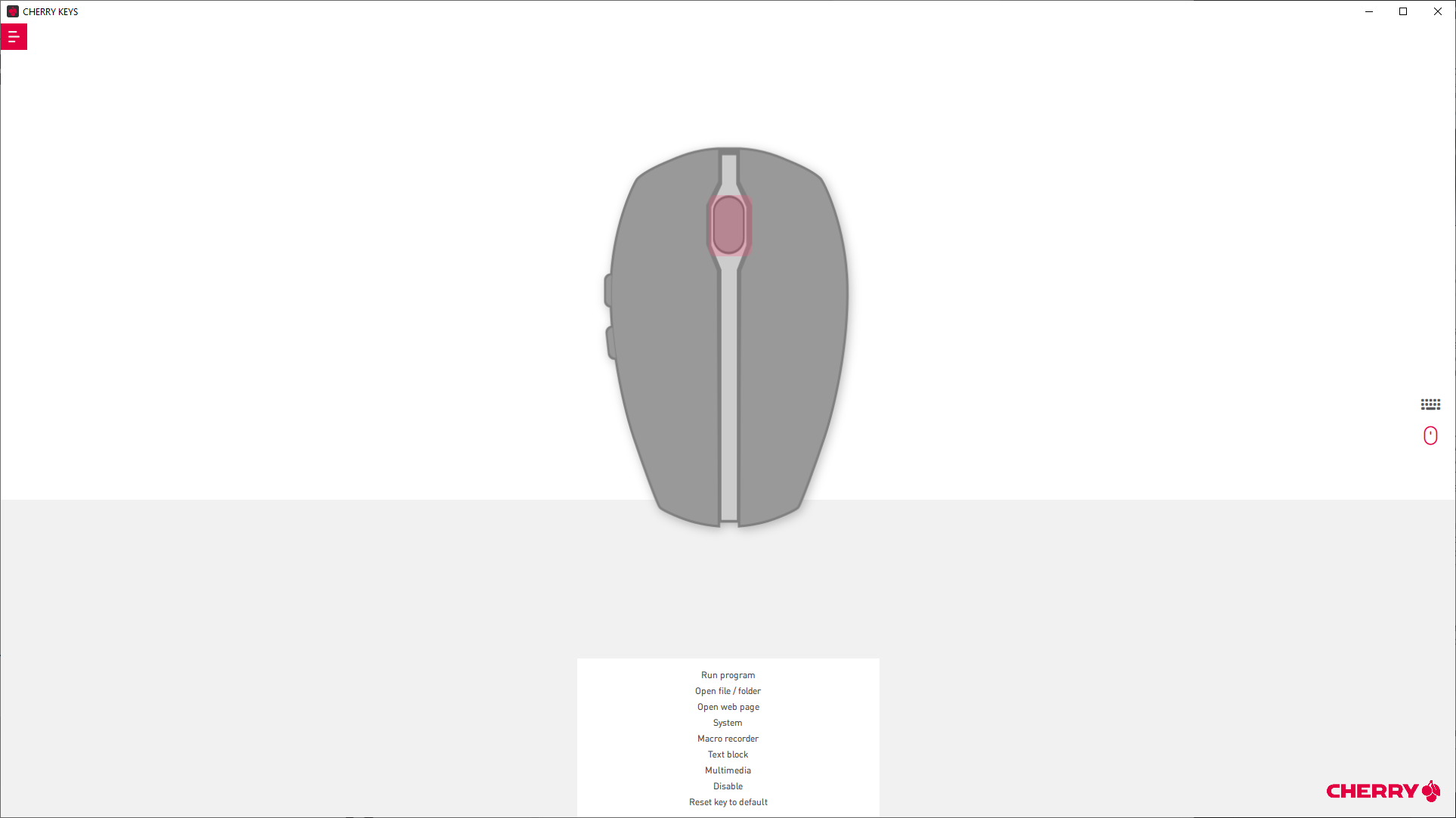 Cherry Keys software shows option to reprogram Gentix mouse buttons