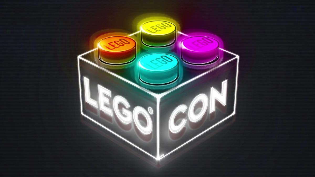 LEGO CON logo with neon brick