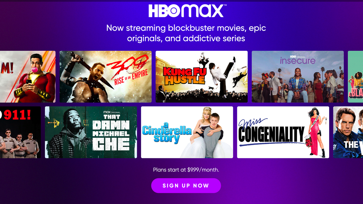 The HBO Max signup page.