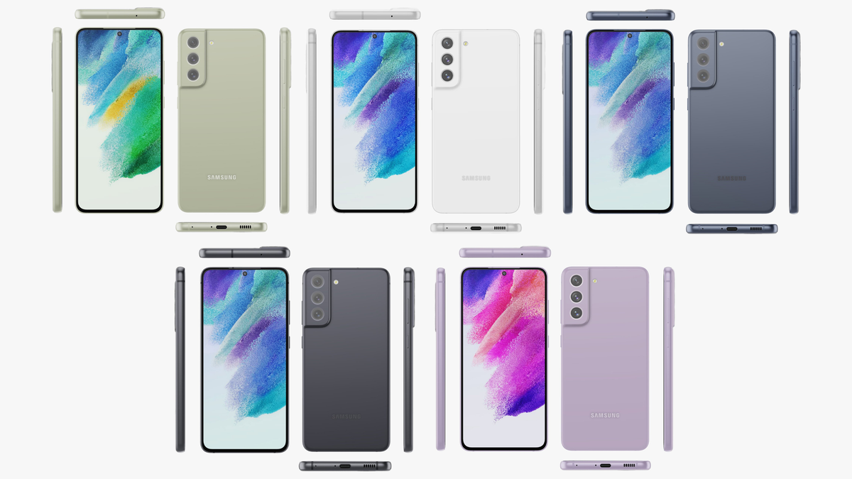 The Galaxy S21 FE in five different colors.