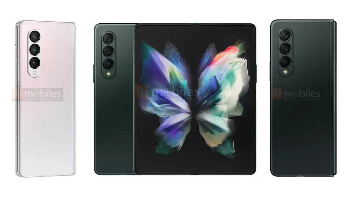 A photo of the leaked Galaxy Z Fold 3 renders.