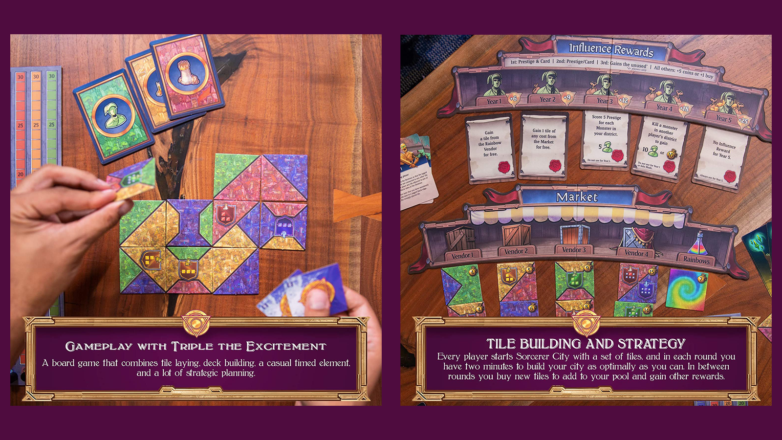 Top-down view of Sorcerer City board game components on a wooden table