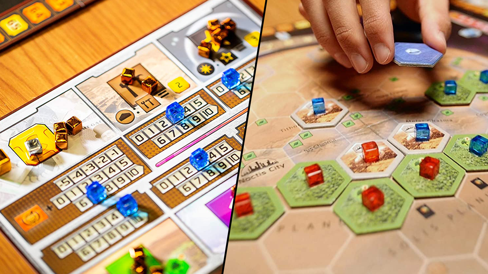 Two views of Terraforming Mars board game components