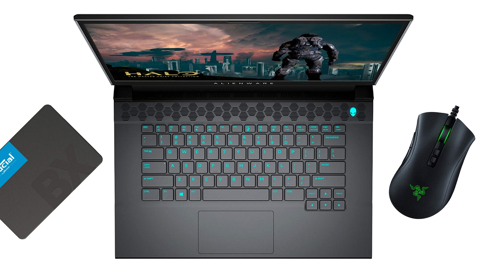 An Alienware laptop, Crucial SSD, and Razer Deathadder mouse.
