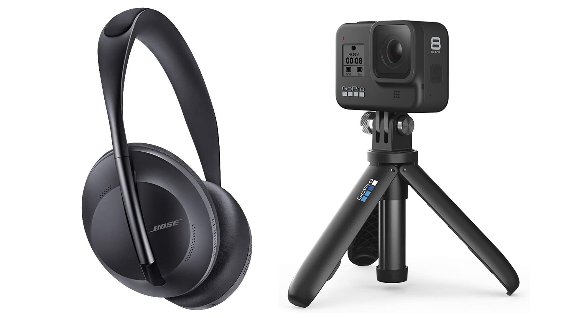 The Bose NC700 and GoPro Hero8 Black.