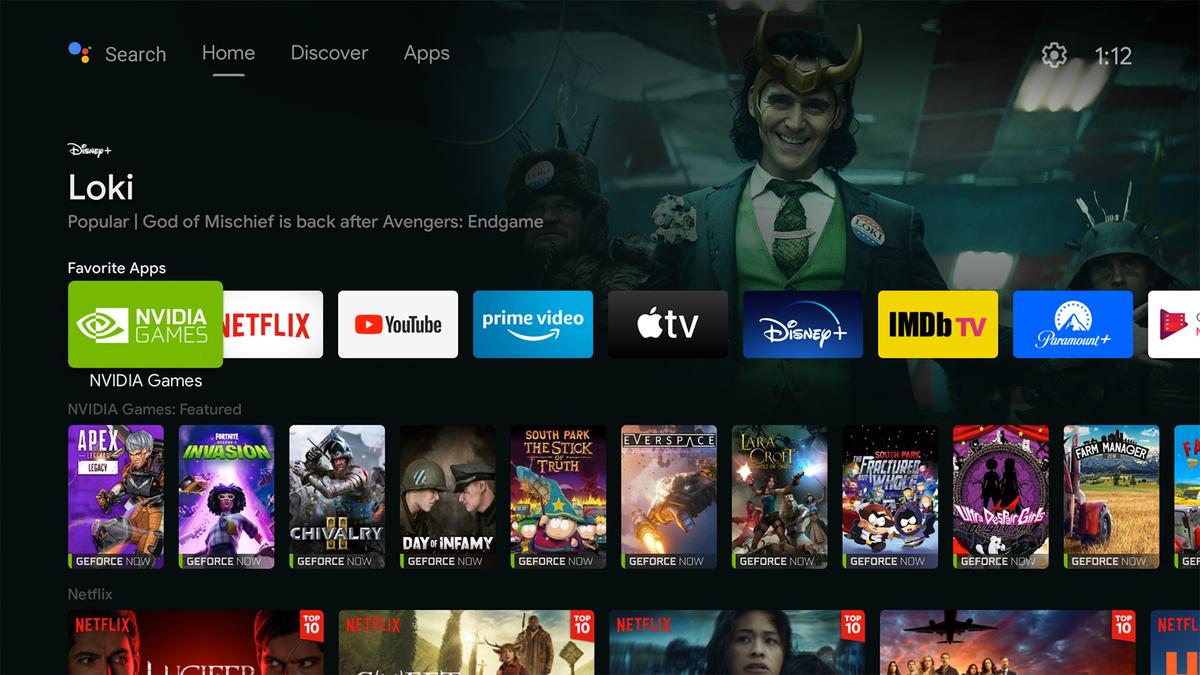Главный экран NVIDIA Shield Discover.