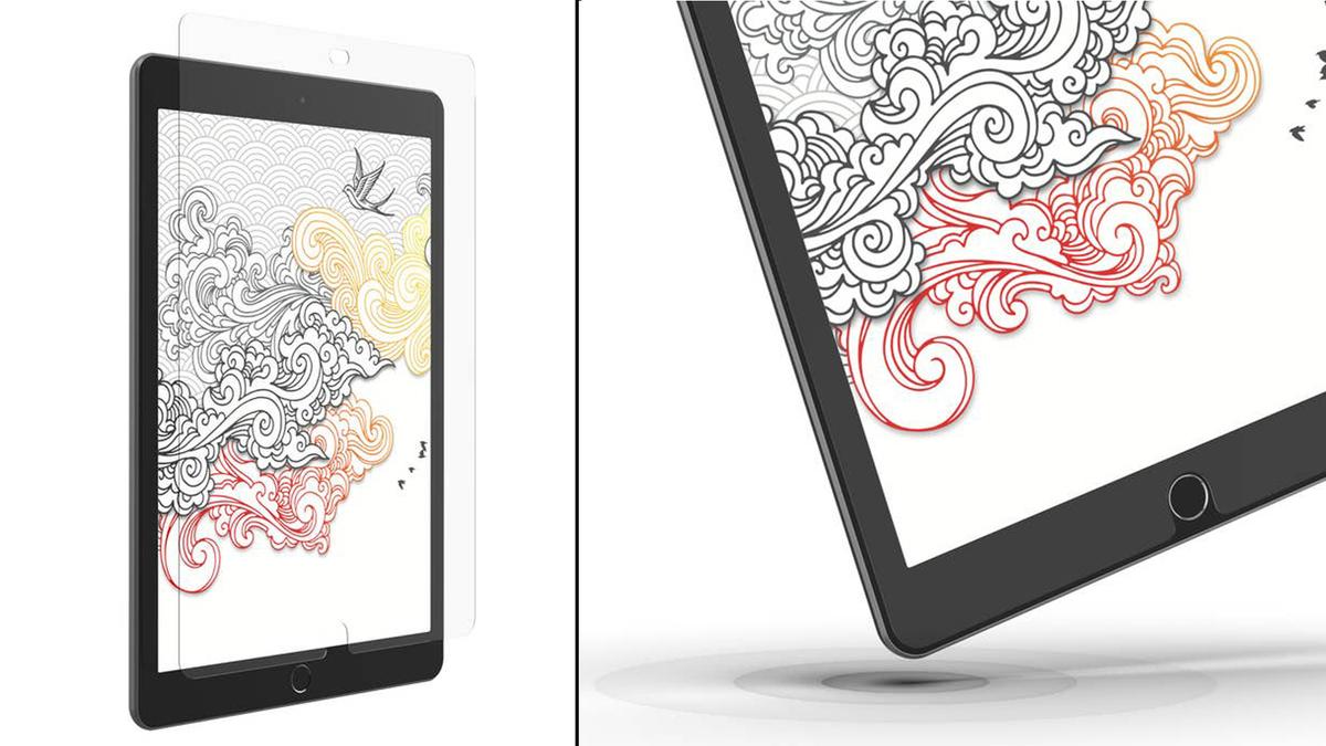 Due viste del nuovo proteggi schermo InvisibleShield GlassFusion+ Canvas di ZAGG su un iPad