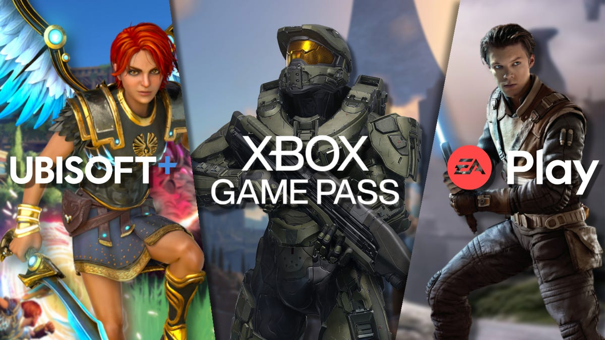 Ubisoft+, Xbox Game Pass, and EA Play logos and games in a collage