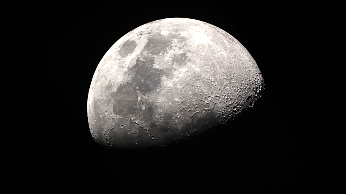 View of the half of the moon