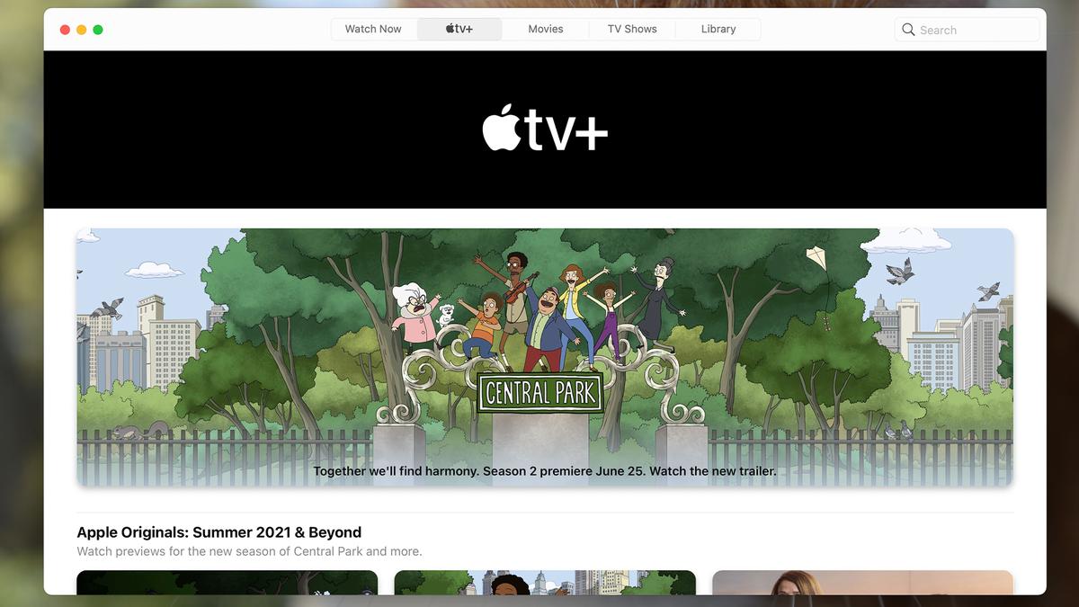 Apple TV app running on a Mac