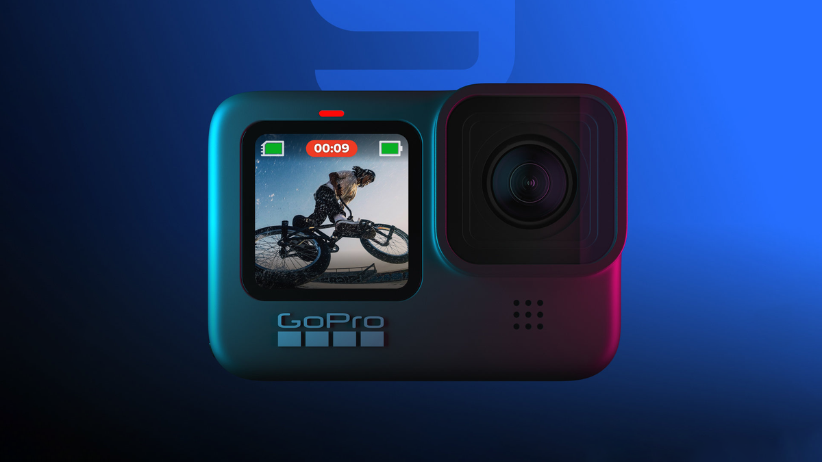 A GoPro cameral on a blue background.