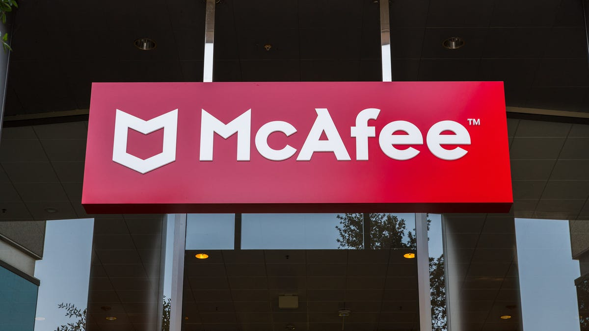 The McAfee logo on a large building.