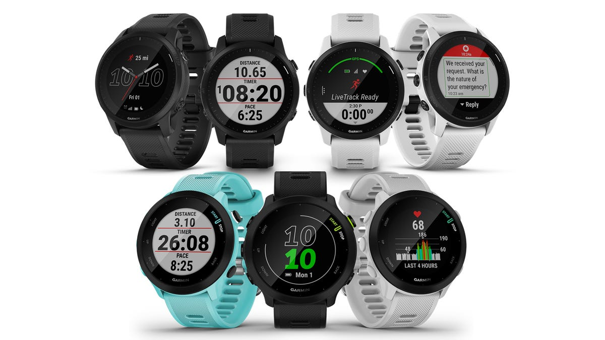 the Garmin Forerunner 945 LTE on top with the Forerunner 55 below