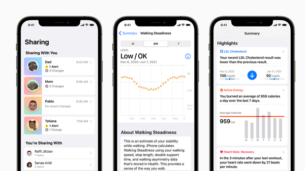 Apple Health Lets You Share Data With Family and Doctors in iOS 15