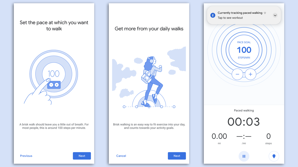 Paced Walking in Google Fit.