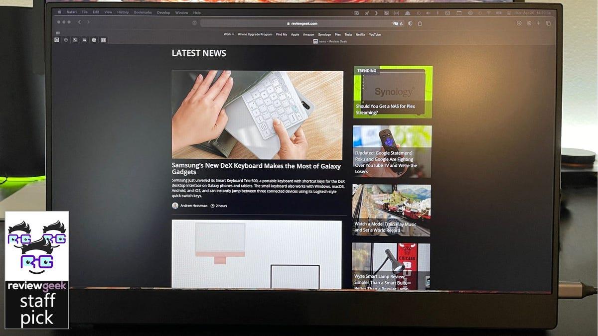 Портативный монитор Vissels с домашней страницей Review Geek