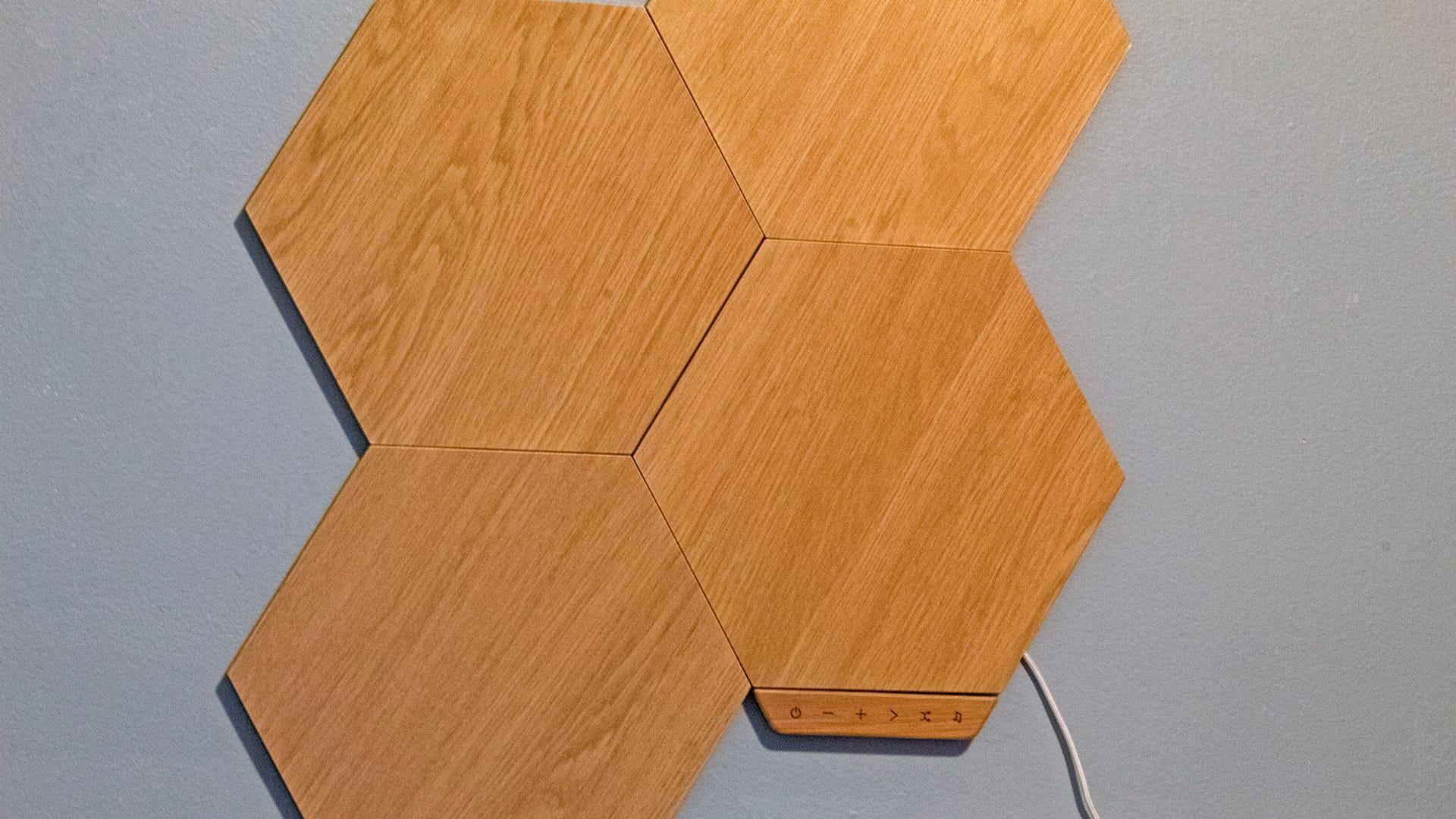 A closeup of woodgrain hexagon panels.