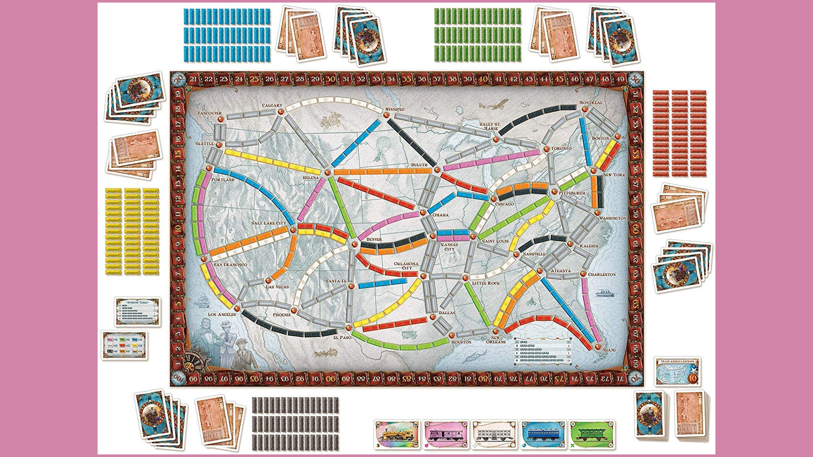 Ticket to Ride board game with railway markers and cards