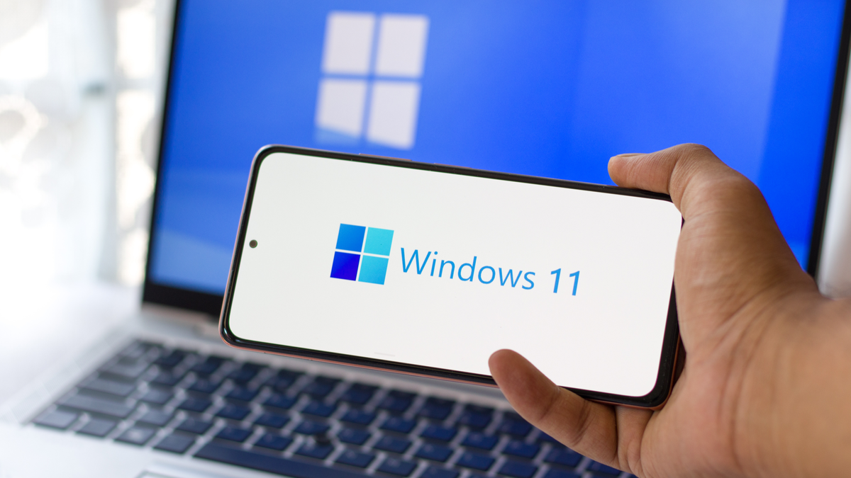 Windows 11 logo on laptop screen