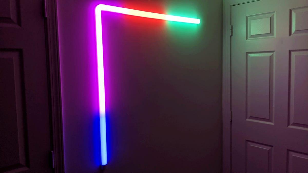 Govee Glide wall light lit up on wall