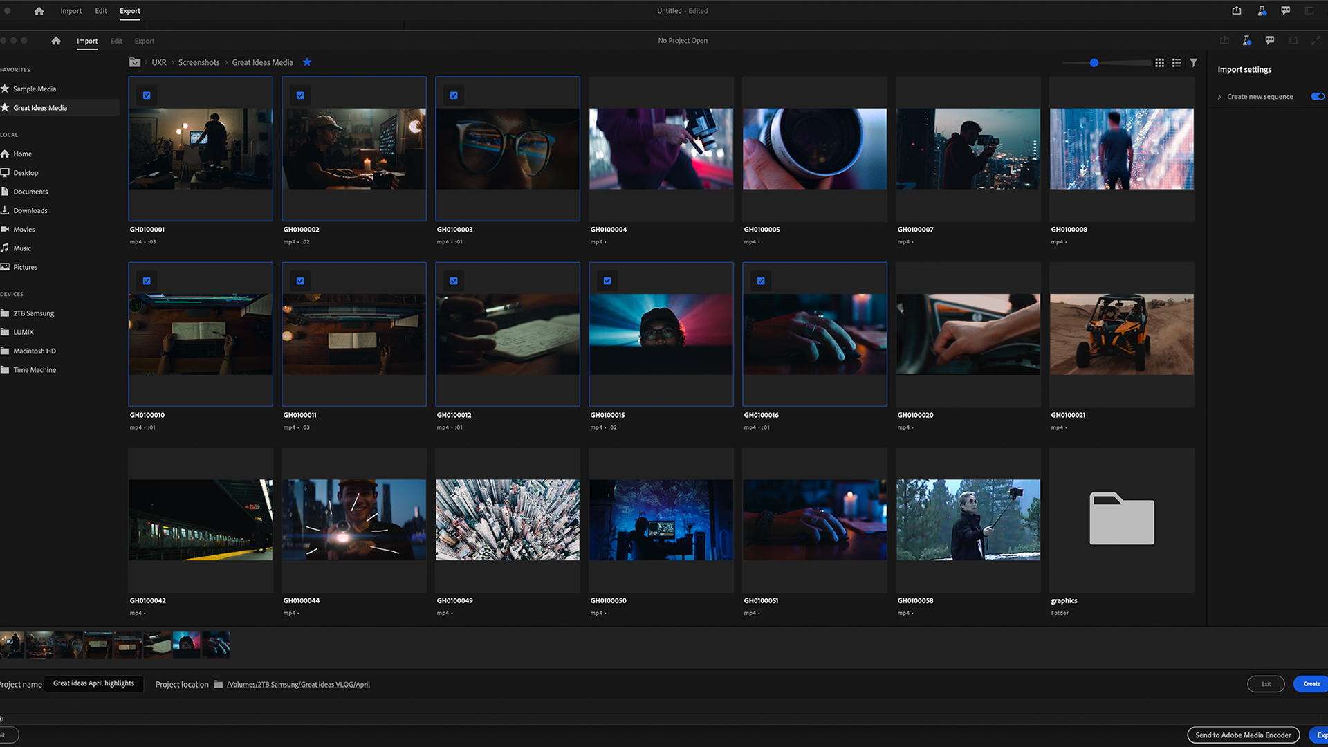 Selecting videos for import in Premiere Pro.