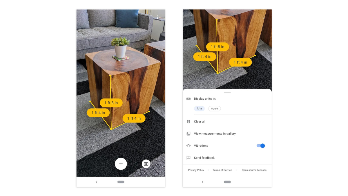 The Google Measure app providing hands-free measurements of a table.