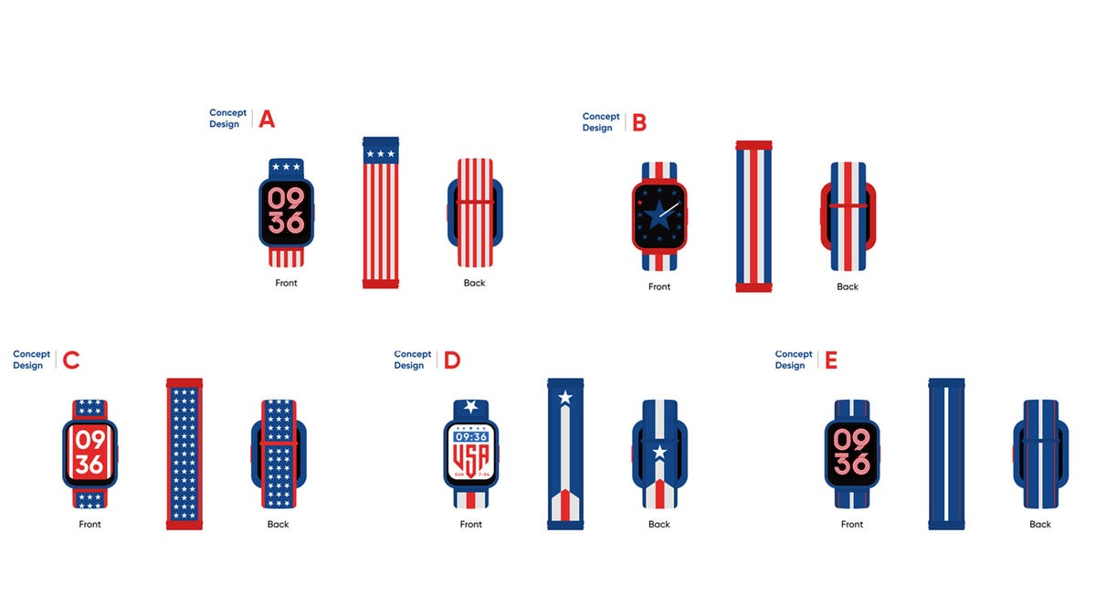Several watch styles with various American-flag reminiscent themes.