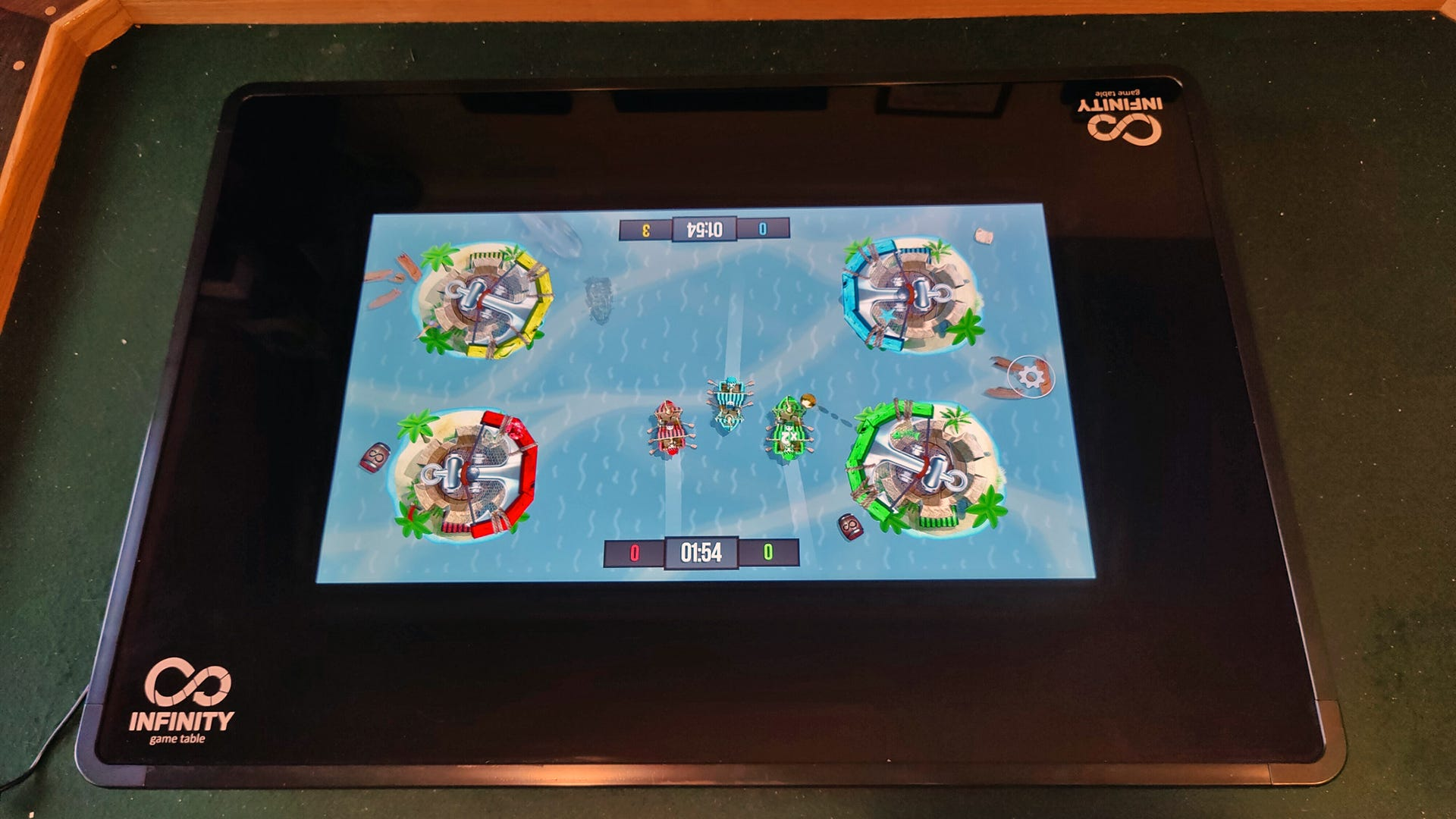 A game with pirate ships sailing on an ocean.
