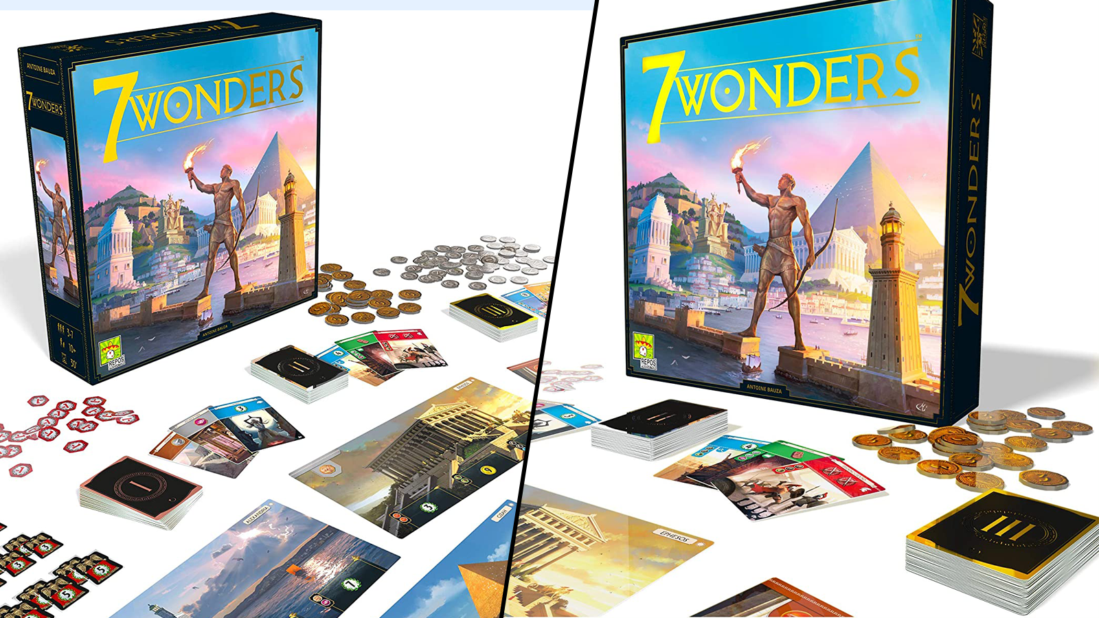 View of 7 Wonders box and various game components against a white background